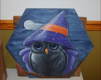 Hand Painted Halloween Witchy Owl on Reclaimed Wooden Pallet Art Painting - One of a kind gift or Outdoor Porch Decoration