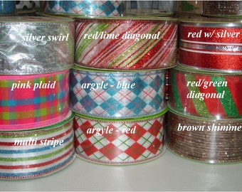 Ribbon Sale 50 Yards for 5 + s/h - Wired Christmas Tree Topper Bow Ribbons 3