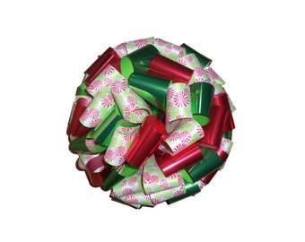 Big Gift Bow for Toy or Outdoor Decorations - Gingerbread or Pinwheels Large Gift Bows with Print - Made in the USA-Fast Ship!