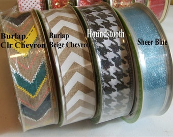 1.5 inch x 50 yards Wired Wreath n Craft Ribbon - Houndstooth Chevron Printed Ribbons