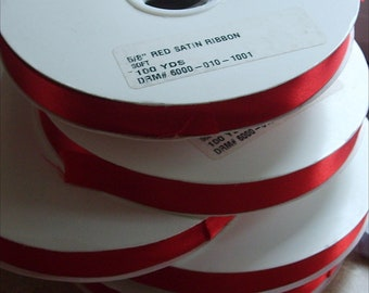 Red Satin Christmas Ribbon for Florist Crafts Wreath and Gift Bows