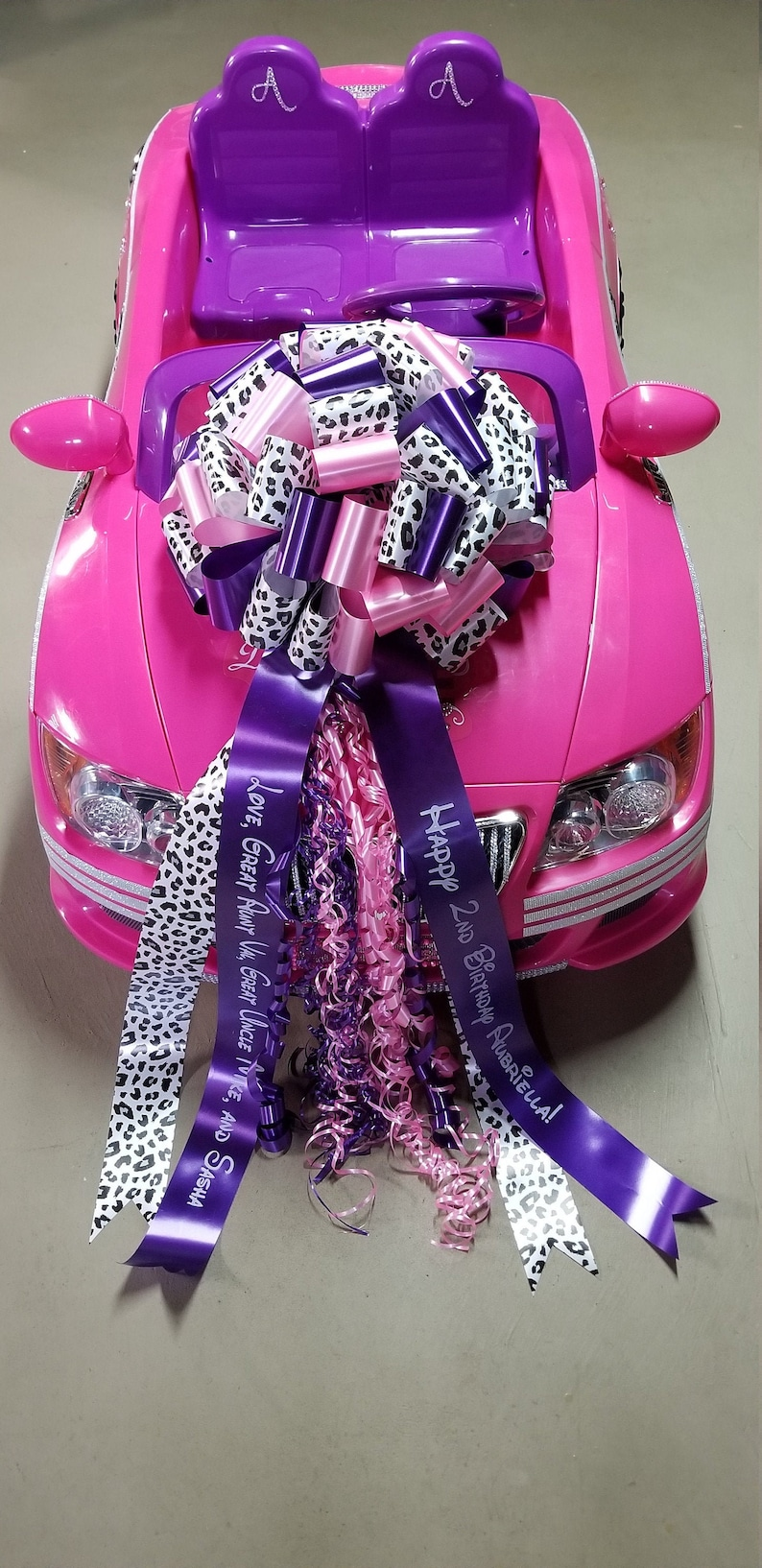 Big Bow for Big Toy Car  Large Gift 14in Bow  YOU choose WCheetah/Pink/Purp