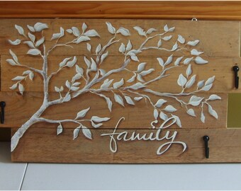 Hand Painted Family Tree - White Birch Tree and leaves with key hangers - One of a kind Christmas Gift