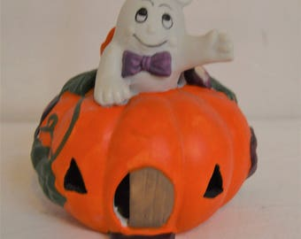 Vintage Ghost with Bow tie  in a Pumpkin House Halloween Decor Ceramic Figurine, Cute!!!