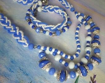 SANTORINI jewelry set, ethno, boho, necklace, bracelet, blue, white, gift for her