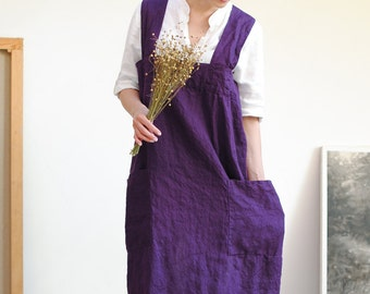 Linen pinafore apron, linen pinafore with pockets,  square cross linen apron, Japan apron, linen apron for woman, no-ties apron