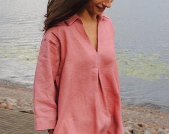 V neck linen blouse with pockets, linen loose fit tunic, linen tunic dress for women, linen summer top, linen blouse, linen shirt,