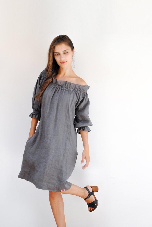 Off Shoulder Linen Dress
