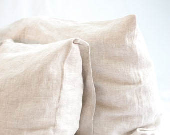 Natural softened linen pillowcase, linen pillow cover oatmeal and white, envelope linen pillow case, pure linen bedding, custom pillowcase
