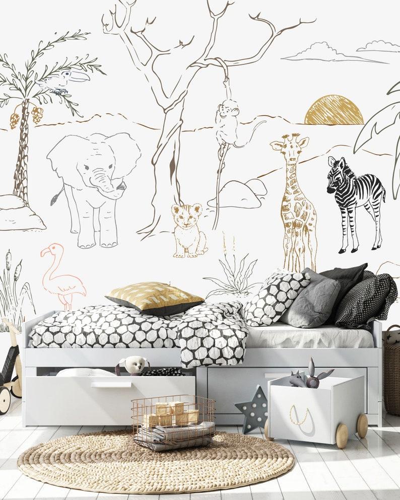 Baby Safari Animal Wallpaper Mural   Etsy