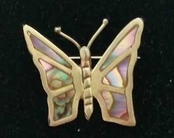 Vintage Abalone Butterfly Pin