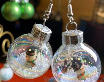 Snowman in Snow Globe Ornament Earrings