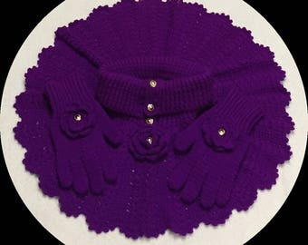 Purple Crocheted Poncho & Glove Sets.