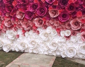 Flower backdrop etsy wedding backdrop large paper flowers paper flower backdrop wedding reception decor bridal shower decor floral backdrop mightylinksfo