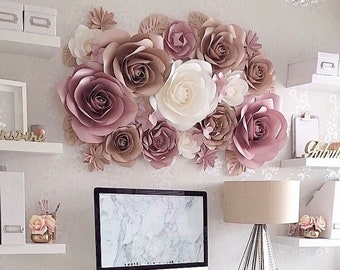 Paper flower wall etsy paper flowers wall decoration large paper flowers paper flower wall decor paper wall flowers nursery paper flowers mightylinksfo