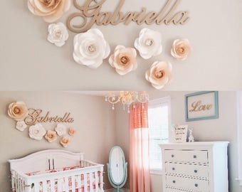Large Paper Flowers   Nursery Wall Decor   Paper Flower Decor   Nursery  Paper Flowers