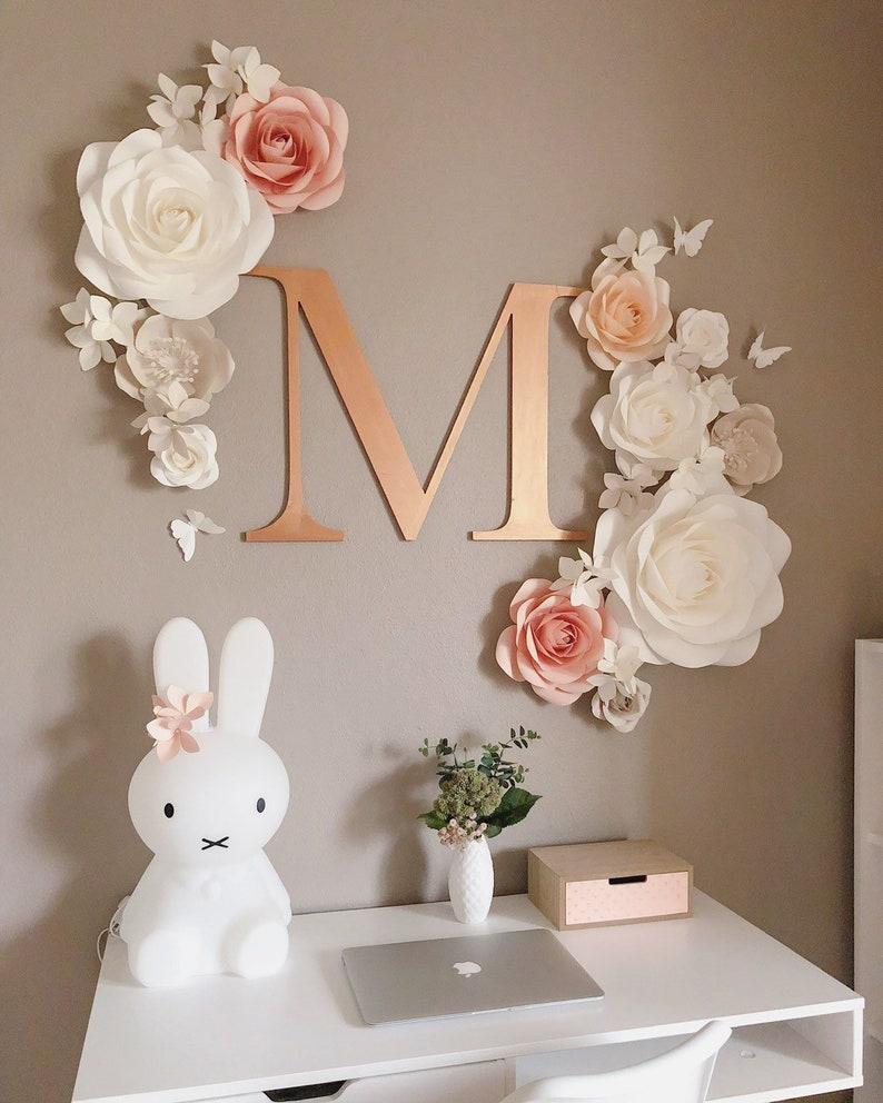 Paper Flowers Wall Decor  Nursery Paper Flowers Set  Wall image 0