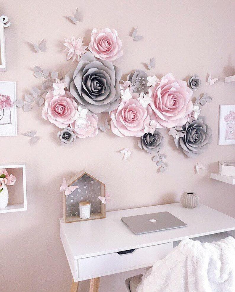 Nursery Paper Flower Nursery Wall Decor Paper Flowers Wall Decor Paper Flower Decor Large Paper Flowers Blush Pink And Gray Decor