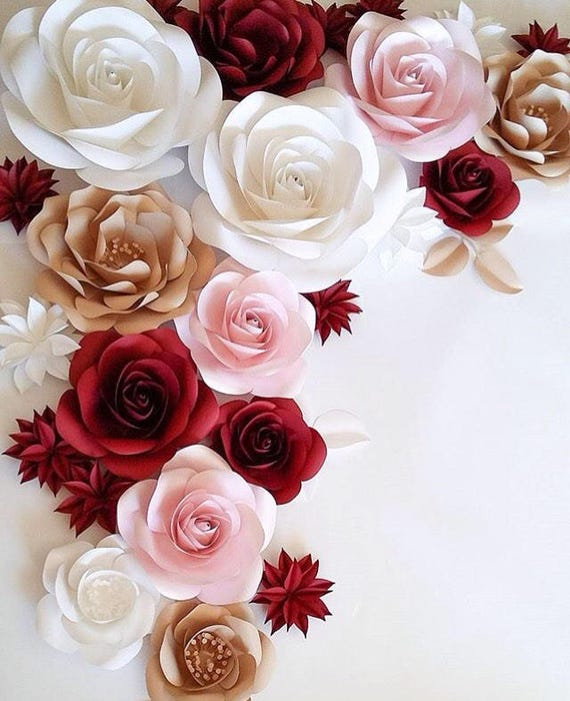 Large Paper Flowers Wedding Decoration Ideas White Paper Etsy