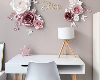 Elegant Paper Flower Set - Nursery Paper Flowers - Nursery Wall Decor - Paper Flowers Decor - Paper Flowers Wall Decor