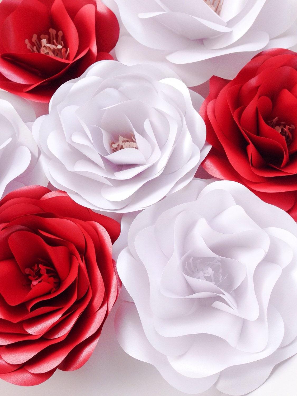 Elegant Red White Paper Flowers Wedding Decoration Wedding Etsy