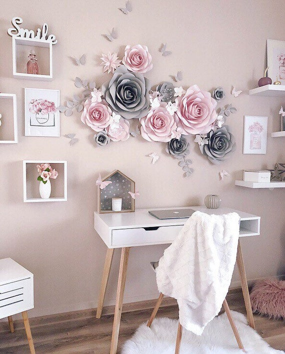 nursery decor flower crafts pink flowers handmade crafts desk decor 4x6 pink flower trio Flower art living room decor dried flowers