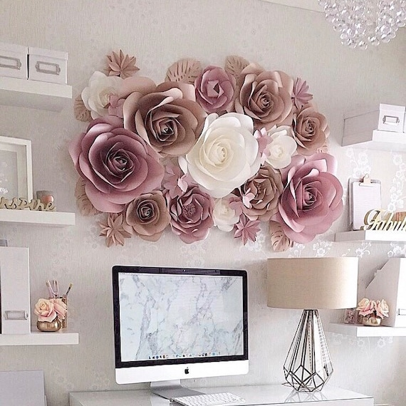 Paper Flowers Wall Decoration Large Paper Flowers Paper Etsy