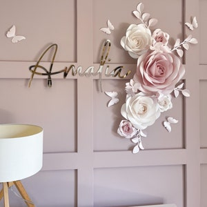Set of Paper Flowers in Blush Pink and White  Paper Flowers