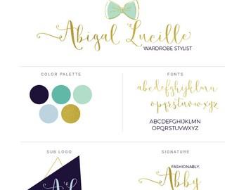 Gold Logo, Gold Branding Set, Brand Set for Creative Business, Fashion Logo, Signature Logo