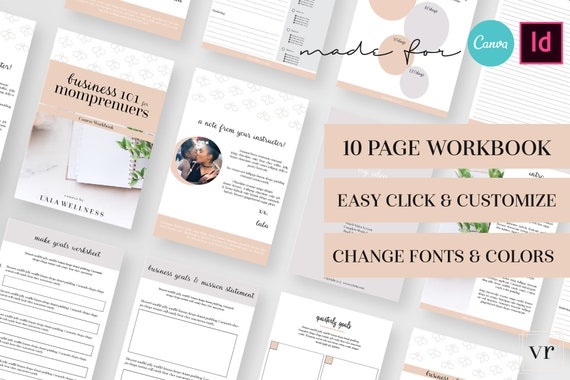 Momprenuer CANVA Workbook Template for Bloggers and Business - Canva  Template, eBook