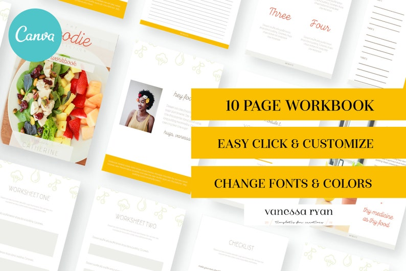 Foodie Canva Workbook - Canva Template, canva workbook, canva worksheet,  canva planner