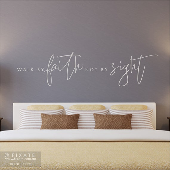 Bible Verse Wall Decal Quote Above Bed Wall Decor Over Bed Wall Sticker  Quote Scripture Religious Wall Decal Bible Verse Decor Walk By Faith