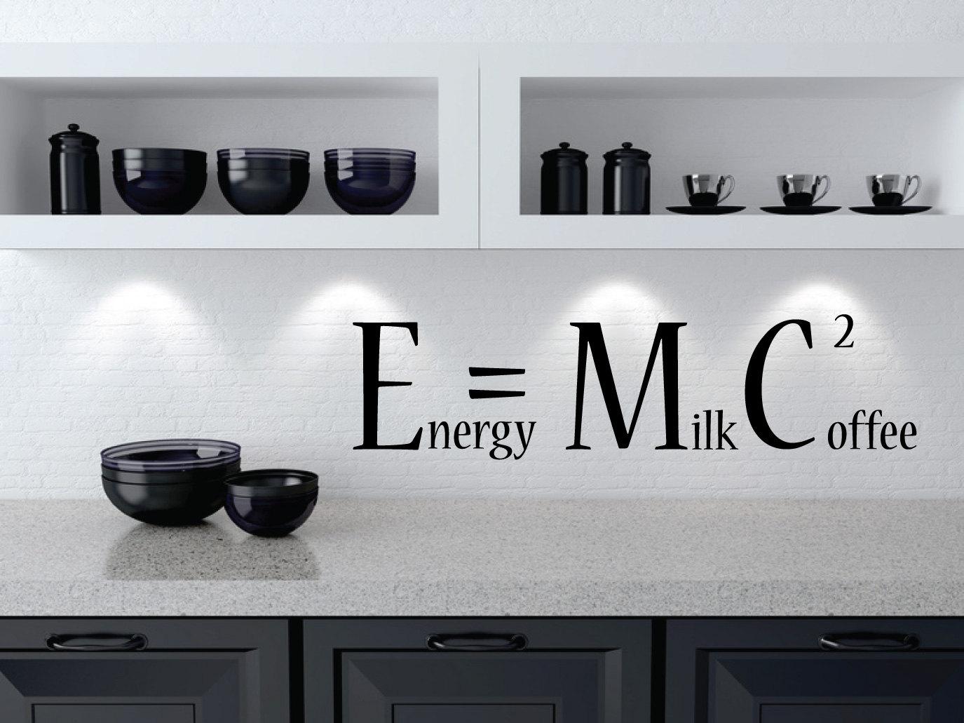 Coffee Wall Sticker Energy Milk Coffee Squared Emc2 Etsy