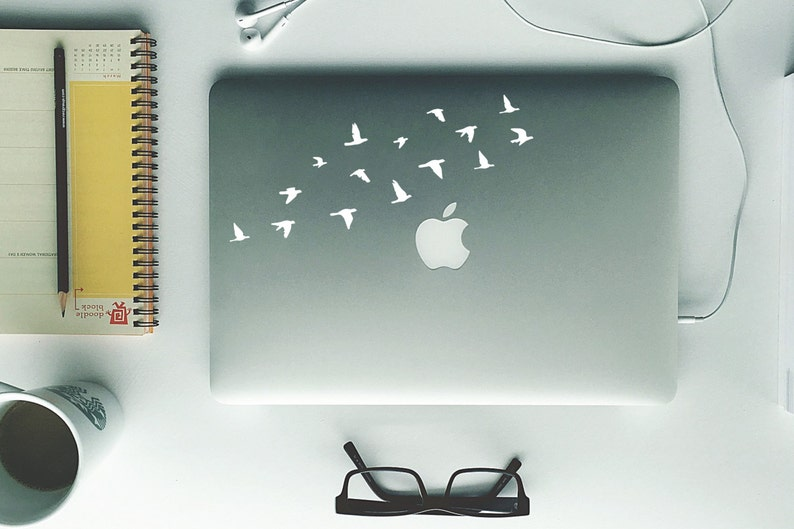 Laptop Decal  Flying Birds  Removable Vinyl Sticker in image 1