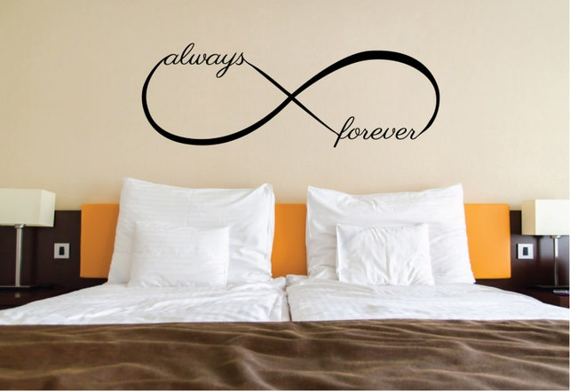 Love Wall Sticker Quote Over Bed Decor Love Infinity Symbol Etsy
