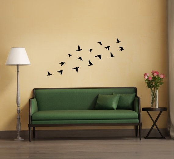 Vinyl Flying Decal Art Decor 12x Flock Of Birds Wall Sticker Peel And Stick Mural Stickers Silhouettes Decoration Bird Decals