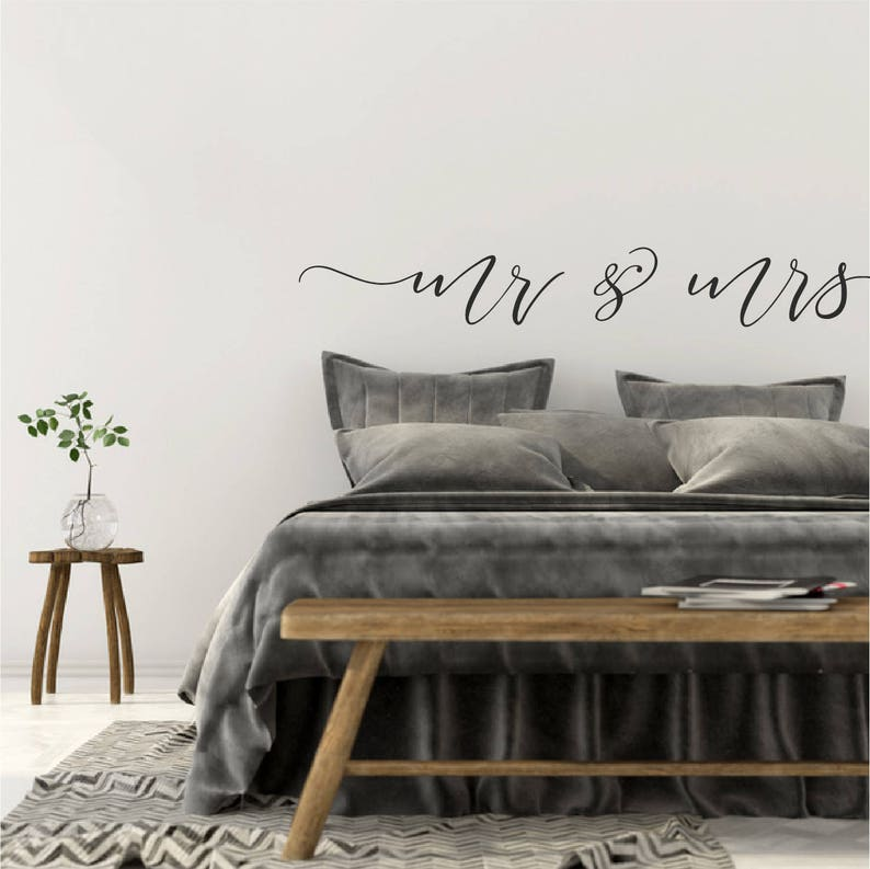 Over Bed Wall Decor Above Bed Wall Decal Quote Bedroom Wall Sticker Quote  Mr and Mrs Love Quote Sign For Bedroom Vinyl Decal Art Decor