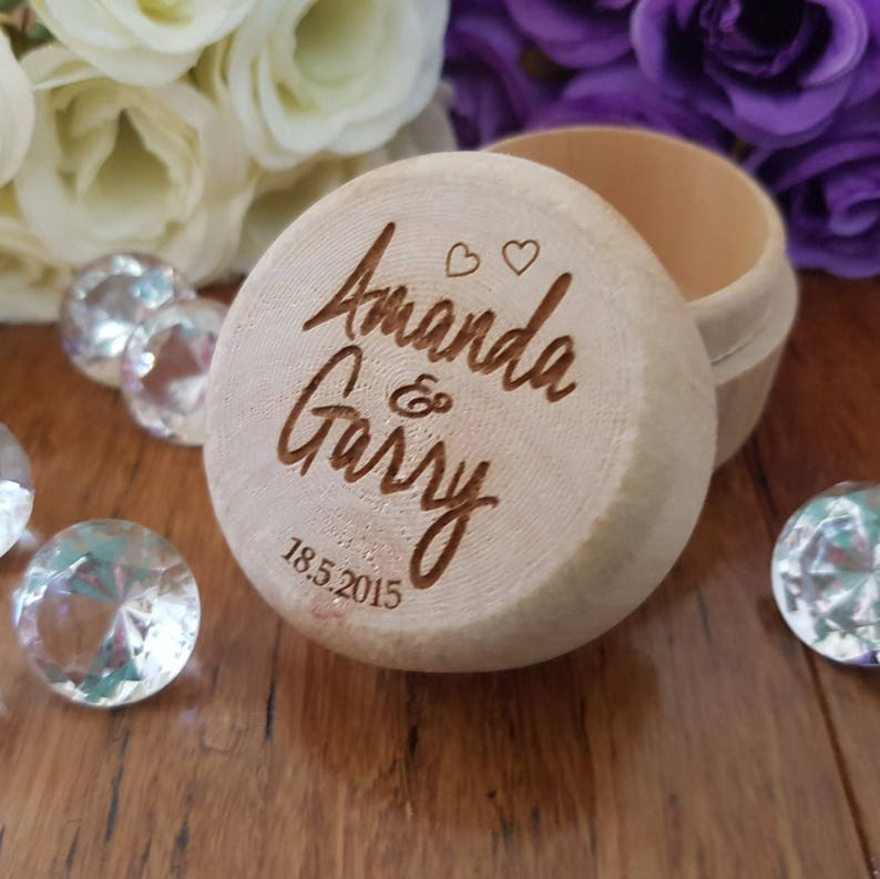 Personalised Heart Engraved Ring Bearer Boxes