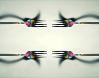 Minimalistic Still life forks Printed Photography Colourful Wall art