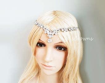 Wedding silver forehead hair jewelry forehead headband front head chain boho wedding prom tiara circlet festival bohemian wedding indian