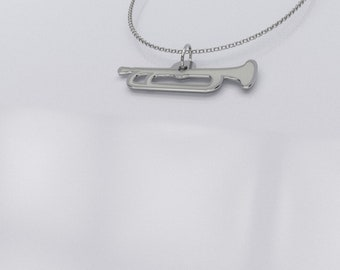 Trumpet Pendant - Trumpet Charm - Trumpet Necklace - Music Teacher Gift - .925 Sterling Silver Trumpet Jewelry