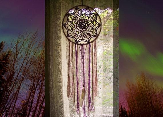 Grote Paarse Roze Dreamcatcher Muur Opknoping Haak Mandala Etsy