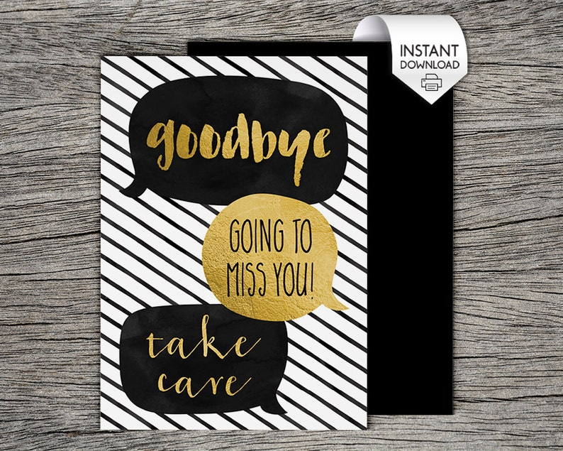 photograph relating to Printable Going Away Cards named Printable Farewell / Goodbye Card - Goodbye, moving towards pass up oneself, choose treatment, speech bubbles - Instantaneous PDF Obtain