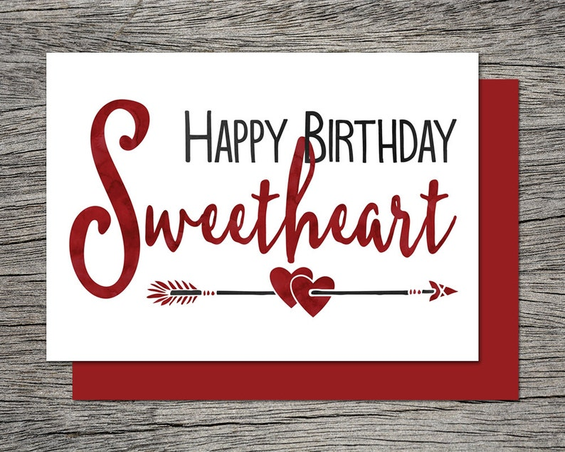 Printable Birthday Card Happy Birthday Sweetheart Instant Etsy