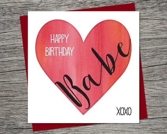 Messages Birthday Card Happy Birthday Babe Wife Birthday Husband Birthday Boyfriend Birthday Girlfriend Birthday Printable Card Etsy Birthday Card Happy Birthday Babe Wife Birthday Husband Etsy
