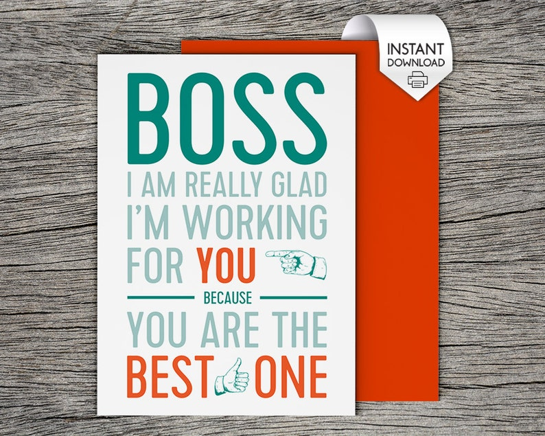 image about Happy Boss's Day Cards Printable identify Bosss Working day Card, Bosses Working day Card - Printable Card - Ideal Manager
