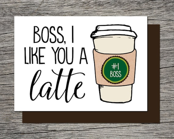graphic regarding Bosses Day Cards Printable known as Bosss Working day Card, Bosses Working day Card - Printable Card - Manager, We/I Including On your own A Latte