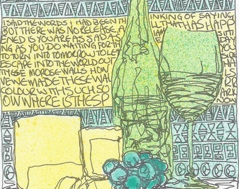 Abstract line drawing still life - Grapes and other words