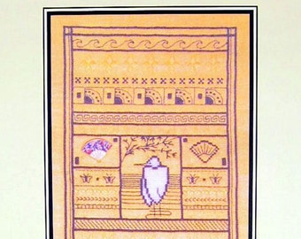 Art Deco oriental cross stitch pattern, Japanese Montage, Art-Stitch Asian cross stitch chart
