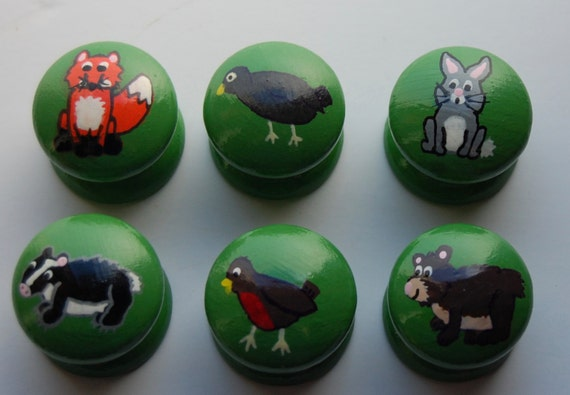 Woodland Forest Animal Drawer/ Cupboard Knobs- Hand Painted Set of 6- 3 Sizes Available 30mm, 40mm, 53mm Fox, Robin, Rabbit, Badger, Bear